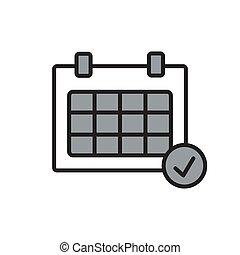 vetorial, calendário, apartamento, desenho, organizador, icon., ilustração