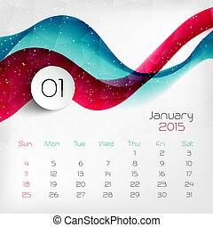 vetorial, calendar., 2015, january., ilustração