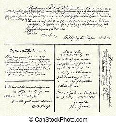 vetorial, caligrafia, antigas, amostras