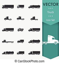 vetorial, caminhão, ícones