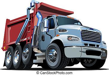 vetorial, caminhão, caricatura, entulho