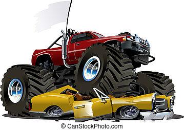 vetorial, caminhão, caricatura, monstro