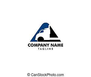 vetorial, caminhão, logotipo, desenho, inicial, letra