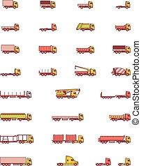 vetorial, caminhões, ícones