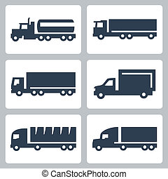 vetorial, caminhões, ícones, jogo, vista lateral