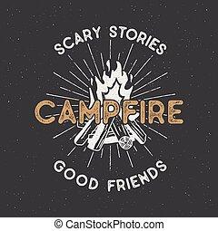 vetorial, camisa, acampamento, isolated., vindima, textured, logotype, ilustração, etiqueta, t, effect., campfire, hipster, aventura, textos, sunbursts., desenhado, letterpress, mão, ao ar livre, design.