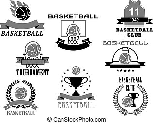 vetorial, campeonato, jogo, ícones, clube, basquetebol