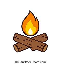 vetorial, campfire, ícone