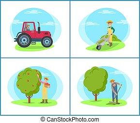 vetorial, campo, ancinho, ilustração, agricultor