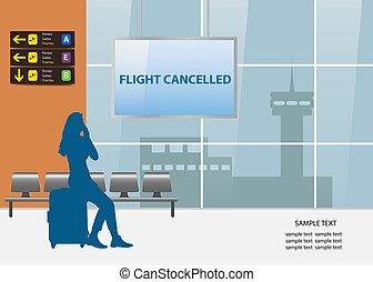 vetorial, cancelado, viagem, conceito, vôo, ar