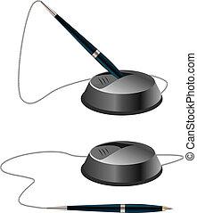 vetorial, canetas, dois, ilustração