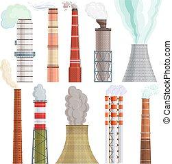 vetorial, cano, industrial, fumaça, poder, chimneyed, energia, fábrica, ilustração, isolado, meio ambiente, jogo, fundo, tóxico, branca, ar, indústria, chaminé, poluição