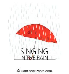 vetorial, cantando, chuva