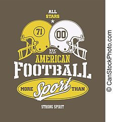 vetorial, capacete futebol americano, stylized, ilustração