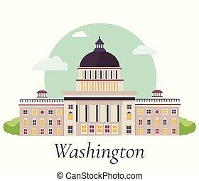 vetorial, capitol, ilustração, washington.