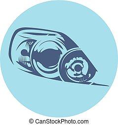 vetorial, car, farol, ilustração