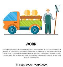 vetorial, car, ilustração, feno, carregar, reboque