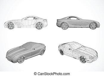 vetorial, car, projeto fixo, ilustração