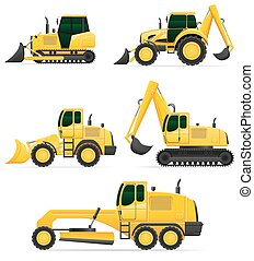 vetorial, car, trabalho, ilustração, equipamento, construção