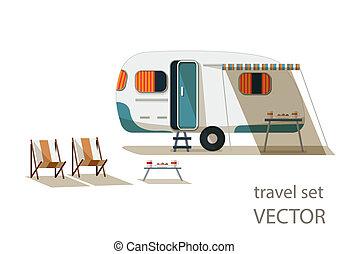 vetorial, caravana, jogo, lounges