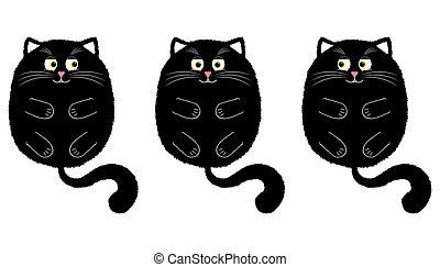 vetorial, caricatura, 2, gato preto, style.