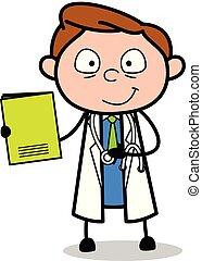 vetorial, caricatura, caderno, apresentando, doutor