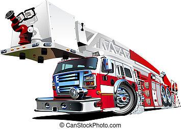 vetorial, caricatura, caminhão bombeiros