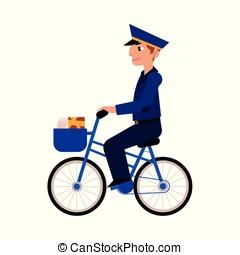 vetorial, caricatura, carteiro, carteiro, personagem, bicicleta