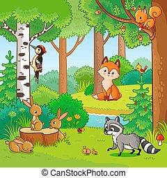 vetorial, caricatura, ilustração, animals.