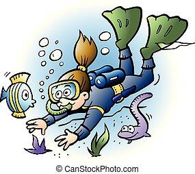 vetorial, caricatura, ilustração, de, um, mergulhador,...