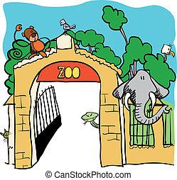 vetorial, -, caricatura, ilustração, jardim zoológico