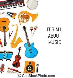 vetorial, caricatura, instrumentos musicais, fundo, com, lugar, para, texto, ilustração