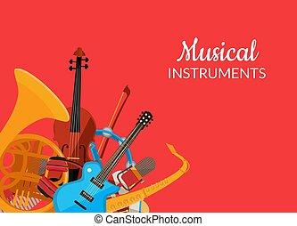 vetorial, caricatura, instrumentos musicais, fundo