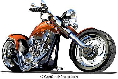 vetorial, caricatura, motocicleta