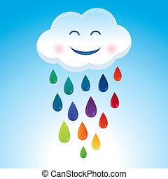 vetorial, caricatura, nuvem, e, arco íris, gotas