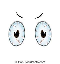 vetorial, caricatura, olhos