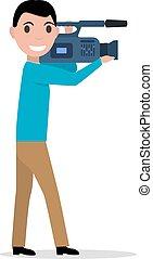 vetorial, caricatura, profissional, videographer