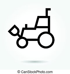 vetorial, carregador, estilo, forklift, fundo, illustration., ícone, logotipo, branca, telescópico, skid, desenho, apartamento