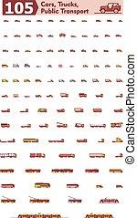 vetorial, carros, caminhões, e, transporte público, ícones