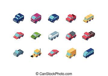 vetorial, carros, isolado, desenho, isometric, ícone, jogo