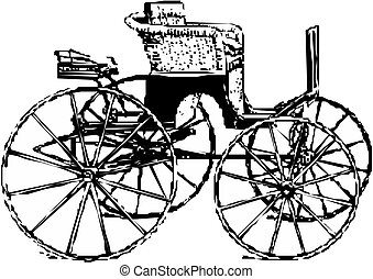 vetorial, carruagem, cavalo
