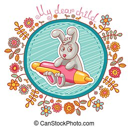 vetorial, cartão, character., caricatura, coelho