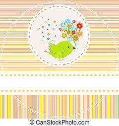 vetorial, cartão, com, cute, pássaros, flores