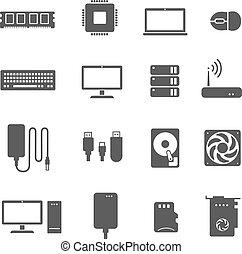 vetorial, cartão computador, hardware, icons., ram, cpu, hdd, vídeo, componentes, processador