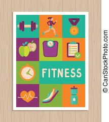 vetorial, cartão, jogo, saudação, condicão física, ícones