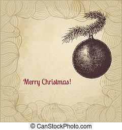 vetorial, cartão natal, com, árvore abeto, decorativo, bola