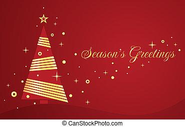 vetorial, cartão natal, com, árvore.