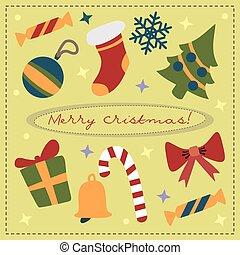 vetorial, cartão natal, com, feriado, attributes, ligado, um, quadrado, fundo