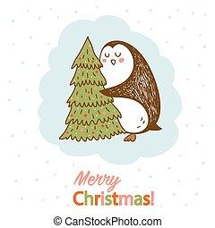 vetorial, cartão postal, com, um, pingüim, abraçando, árvore natal
