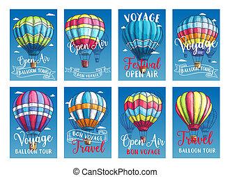 vetorial, cartões, ar, ou, quentes, balloon, cartazes, excursão, viagem